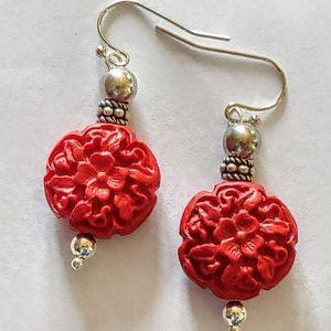 Red flower design earrings